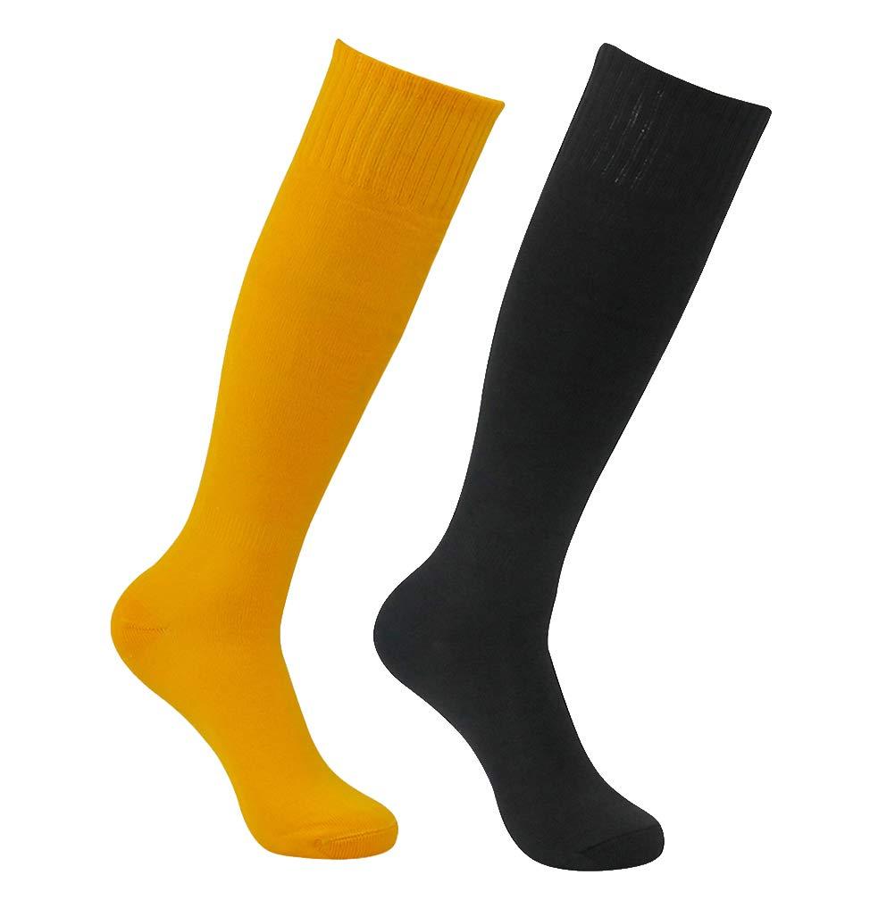 Feelingway Tube Socks Soccer, Solid Knee-High Length Breathable Sport Training Workout Compression Long Dress Socks for Men Women Black and Orange 2 Pairs by Atrest