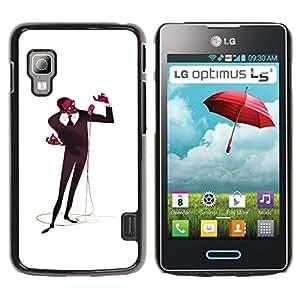 GOODTHINGS Funda Imagen Diseño Carcasa Tapa Trasera Negro Cover Skin Case para LG Optimus L5 II Dual E455 E460 - micrófono hombre cantante de la música de arte negro