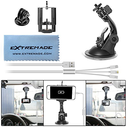 Car Suction Cup Mount Compatible for Gopro/Action Camera/iPhone / Smartphone Car Camcorder Suction Holder Cradle Bracket Support w/Super Wide Cell Phone Clip/Gopro Adapter / 3in1 USB Cable