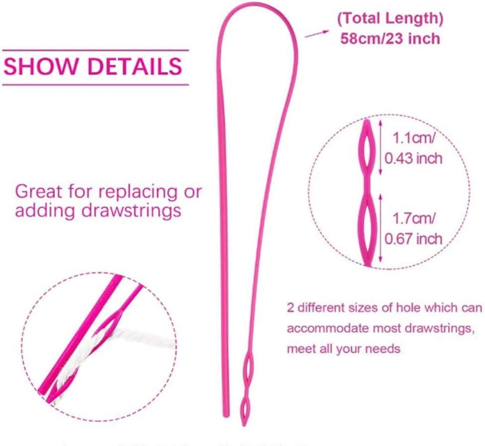 Include 6 Flexible Plastic Drawstring Threader 6pcs Metal Drawstring Threader and 6pcs Metal Tweezers,10Plastic Needles Threaders 28 Pieces Drawstring Threader Set