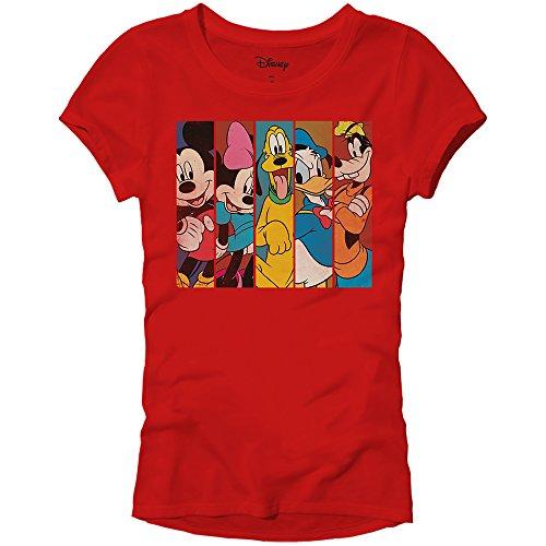 Disney Mickey Minnie Mouse Pluto Donald Duck Goofy Panels World Disneyland Funny Women's Juniors Slim Fit Adult Graphic Tee T-Shirt (Red, ()