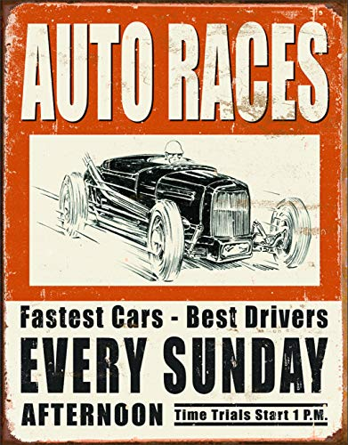 "Desperate Enterprises Vintage Auto Races Tin Sign, 12.5"" W x 16"" H"
