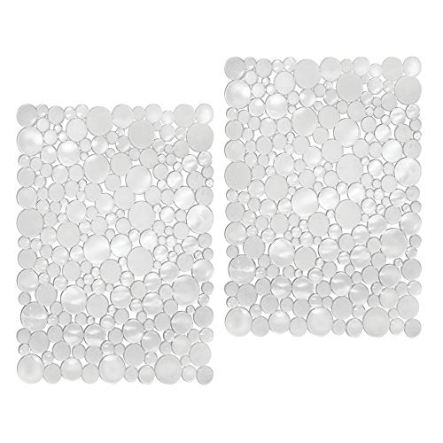 mDesign Adjustable Kitchen Sink Dish Drying Mat/Grid - Soft Plastic Sink Protector - Cushions Sinks, Stemware, Glasses, Dishes - Quick Draining Bubble Design - Large, 15.5 Long, 2 Pack - Clear