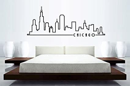 Chicago Skyline Wall Decal Outline Large 46u0026quot ... & Amazon.com: Chicago Skyline Wall Decal Outline Large 46