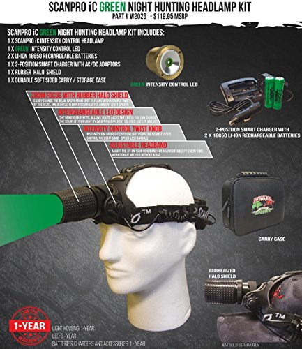 Wicked Lights ScanPro IC Night Hunting Headlamp with GREEN Intensity Control LED for hog coyote predator hunting by Wicked Lights (Image #1)