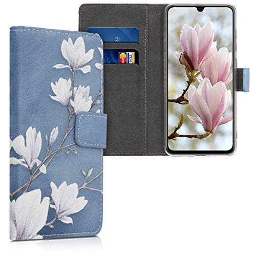 kwmobile Wallet Case Compatible with Samsung Galaxy A70 - PU Leather Flip Cover with Card Slots and Stand - Magnolias Taupe/White/Blue Grey