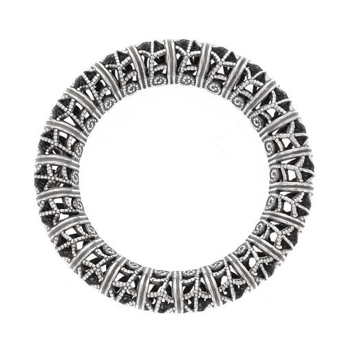 Antiqued Silver Plated Filigree Ring Large Circle Pendant Link 32mm (1) (Link Circle Plated)