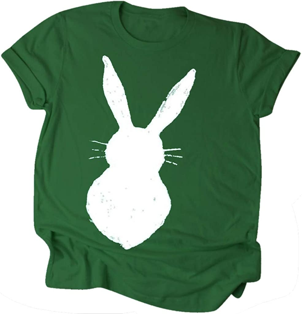 Cute Bunny T Shirts for Women Girls Summer Casual Rabbit Printed Short Sleeve Tees Juniors Fashion Tops