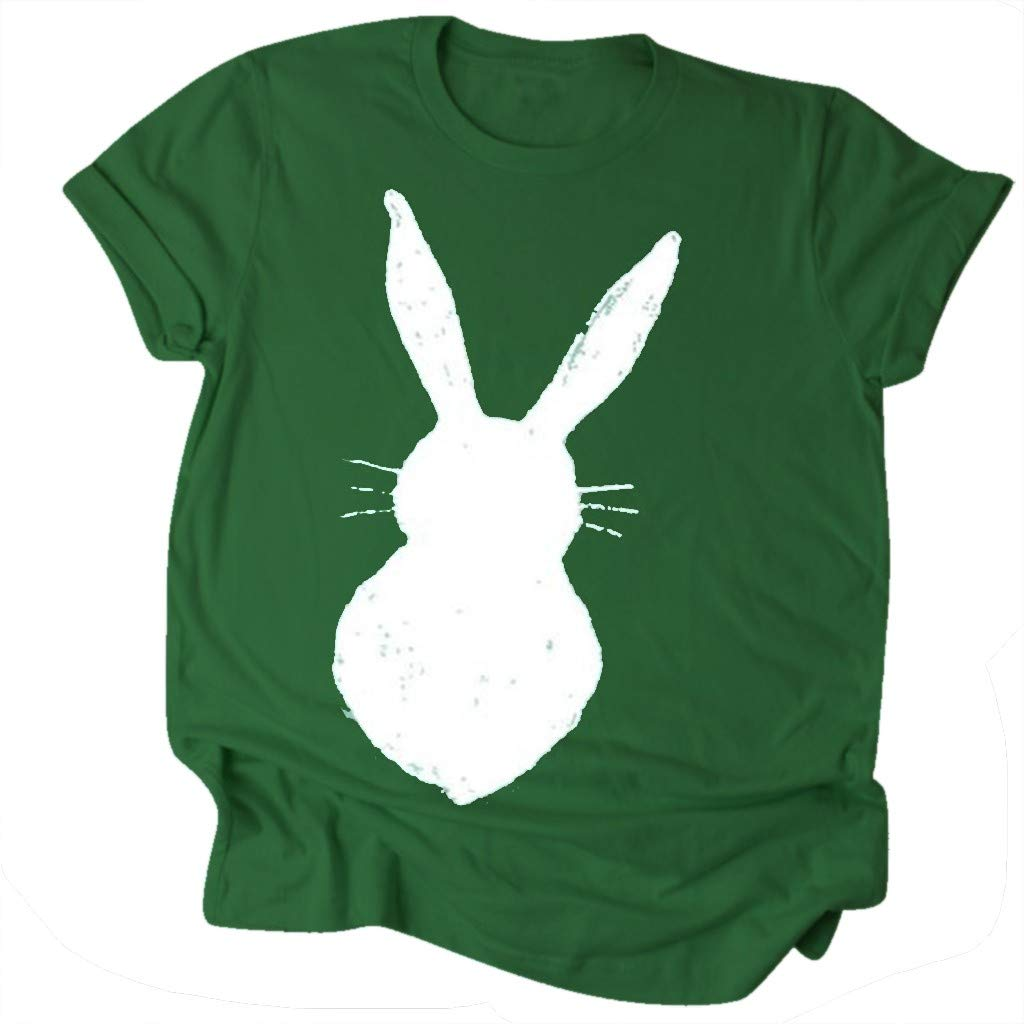 Leoy88 Fashion Women's Loose Short-Sleeved Rabbit Print T-Shirt Casual O-Neck Top Green