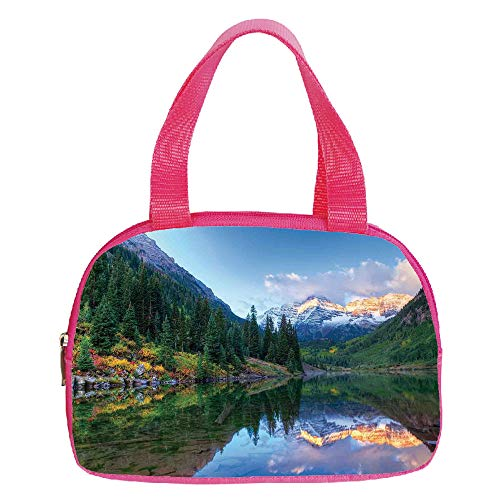 Polychromatic Optional Small Handbag Pink,Lake House Decor,Reflection of Snowcapped Maroon Bells in Fall at Sunrise Panoramic Picture Print,Green Yellow,for Girls,Print Design.6.3