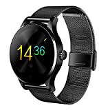 PADY-Wearable Technology K88H MTK2502 Bluetooth Smart Watch Heart Rate Track Wristwatch Track Monitor Call Sleep for iOS Android (Black with Steel Band)