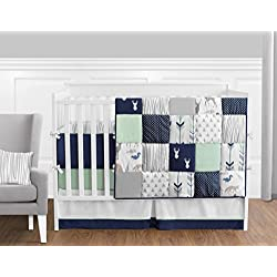 Navy Blue, Mint Green and Grey Woodsy Deer Boys Baby Bedding 9 Piece Crib Set with Bumper