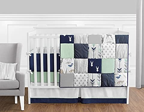 Navy Blue, Mint and Grey Woodsy Deer Boys Baby Bedding 9 Piece Crib Set with Bumper - Blue Patchwork Shorts