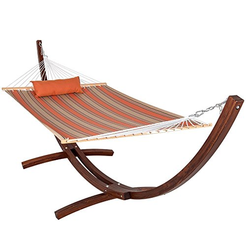 Sunbrella Fabric Hammock, Pillow and 12 Feet Wood Arc Stand,Backyard Combo Set, Passage Poppy,by Lazy Daze Hammocks Over Passage Set