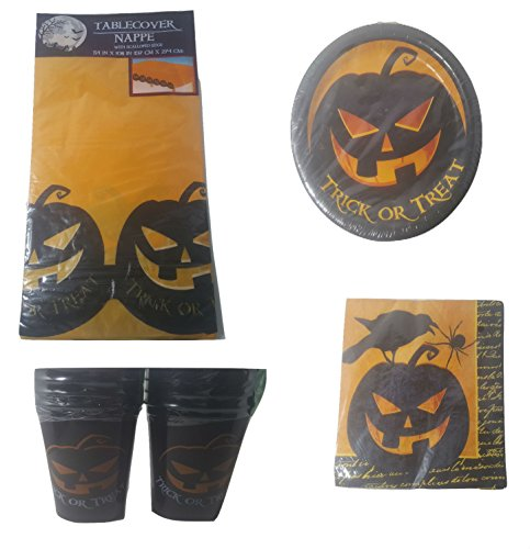 Halloween Scary Pumpkin Themed Party Supplies Pack Bundle of 5 Items for 18 People - 2 Packs of 4 Cups, Plates, Napkins, (People Halloween Party)