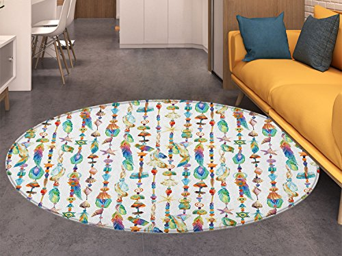 (Feather Non Slip Round Rugs Watercolor Style Figures with Sea Shells Nautical Boho Style Chains Pendant Pattern Oriental Floor and Carpets Multicolor)