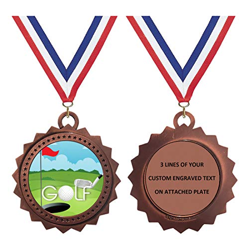 Golf Bronze Large 3 Inch Engraved Medals Trophy Award Personalized Free D03-EG130 1PK ()