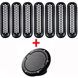 Set 7pcs Mesh Grille Cover Insert + Fuel Filler Door Cover for 2007-2017 Jeep Wrangler JK Rubicon Sahara