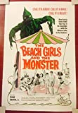 THE BEACH GIRLS AND THE MONSTER - ORIGINAL 1965 ONE SHEET LB POSTER - FUN HORROR