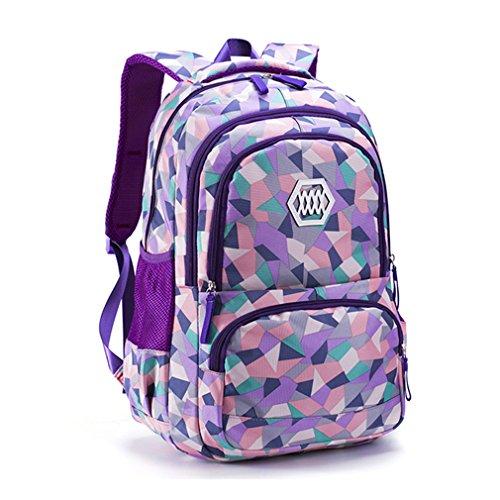 Haoling Sac d'école de fille de mode imperméable poids léger sac à dos de filles impression sac à dos enfant Purple