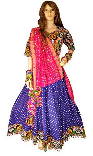 (Nanda Women Cotton Navratri Special Lehenga-Kutchi Embroidered Ghagra Choli-Gamthi New Chaniya Choli Purple Free Size)