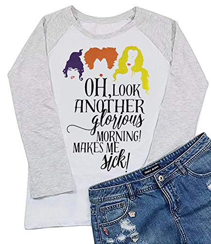 Women Another Glorious Morning Makes Me Sick 3/4 Raglan Sleeve Sanderson Sisters Tshirt Size M (White)