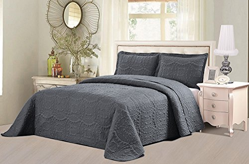 Review Bedspread Set (King, Charcoal
