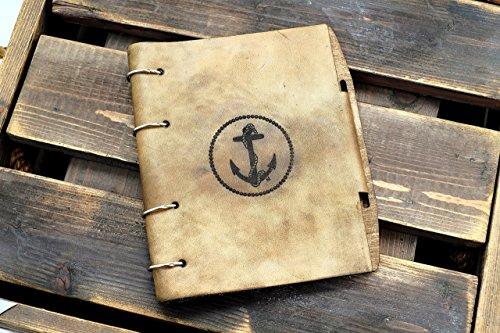 Vintage Anchor Leather notebook / sketchbook on split rings