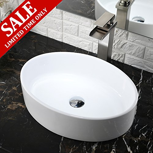 Double Ceramic Sink - Comllen Contemporary Ceramic Bathroom Vessel Sink, 17.9