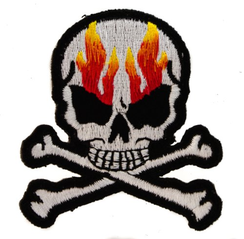 Flaming Skull Chopper (FLAMING SKULL CROSSBONES 3 inch Iron or Sew on BIKER Patch)