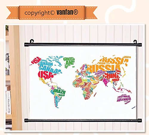 vanfan Wall Scroll Poster- Wanderlust Decor World Map Made b