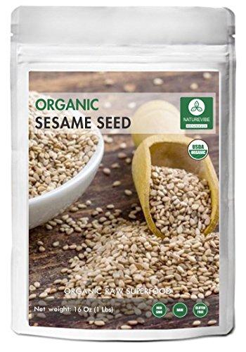 Organic Sesame Seeds (1lb) by Naturevibe Botanicals, Gluten-Free & Non-GMO (16 ounces) - Raw Sesame Seeds