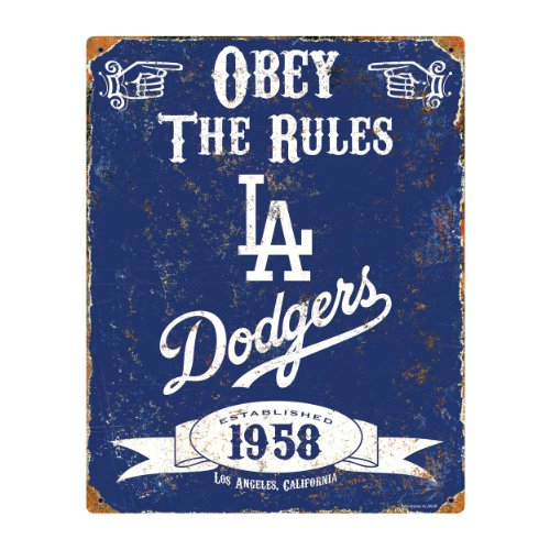 Party Animal MLB Embossed Metal Vintage Pub Signs,Los Angeles (Vintage Baseball Teams)