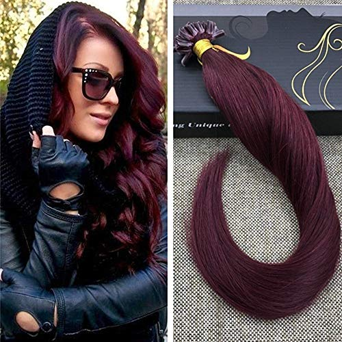 (Ugeat 22inch Fusion Bonding Hair Extensions for Women Color #99J Red Wine Silky Straight U Tip/Nail Tipped Pre Bonded Remy Human Hair Extension 50Gram)