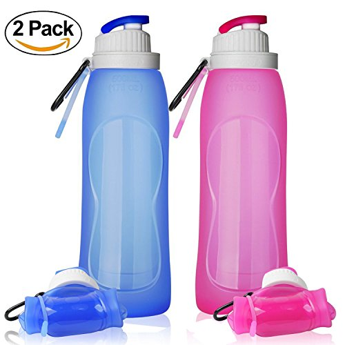 ll127 Collapsible Water Bottles, TurnRaise Silicone Hiking Water Bottle FDA-approved Roll Up Cup for Outdoors, Hiking, Camping, Biking and Traveling Set of 2 Pack (Collapsible Water Bottles)