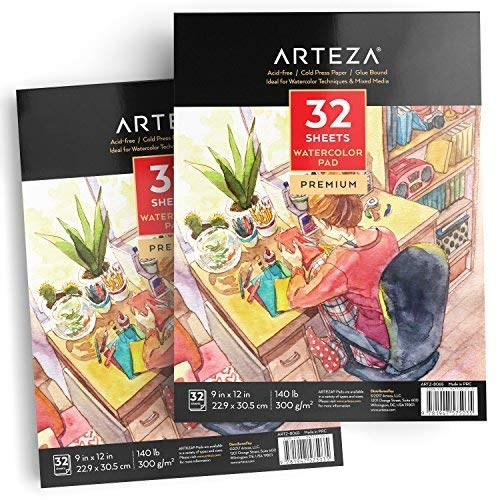 ARTEZA llc 9x12 Watercolor Pad, Pack of 2, 64 Sheets (140lb/300gsm), 32 Sheets, Acid Free Cold Pressed Paper, Painting & Drawing Sketchbook, Perfect for Wet, Dry & Mixed Media