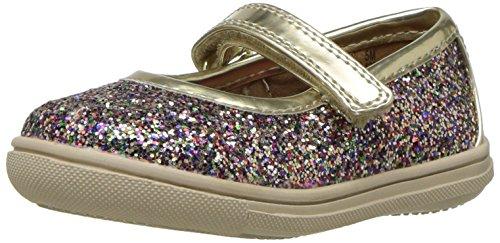 Rachel Shoes Girls' Lil Aries Mary Jane Flat, Gold/Multi Glitter, 10 M US Toddler