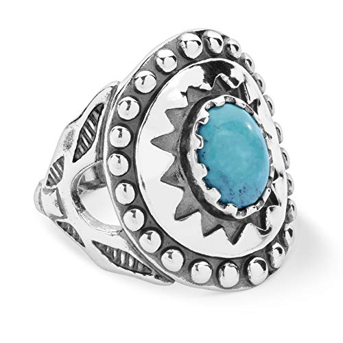 American West Sterling Silver Blue Turquoise Gemstone Sunburst Shield Ring Size 5