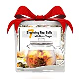 Best Gift Basket for Women! Organic Tea Flowering Gift Set: Glass Teapot with infuser & 7 Blooming Flower Green Tea Balls