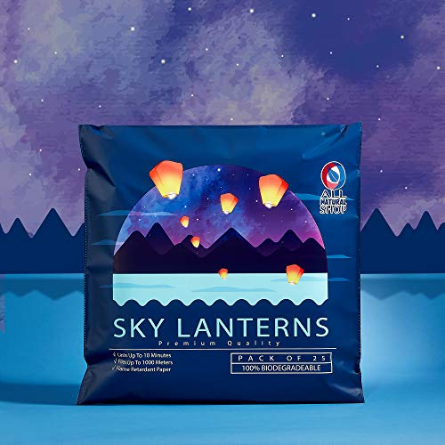 All Natural Shop 25 Pack Chinese Sky Lanterns - White, Eco Friendly, 100% Biodegradable. Wire-Free Paper Japanese Prime Paper Sky Lantern to Release in Sky.