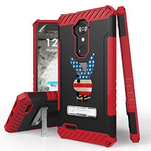 Duo Shield Armor Case (ZTE Blade X Max, Max XL, Blade Max 3, Zmax Pro, Grand X Max 2, Imperial Max, Max Duo Case, Trishield Gear Armor Cover With Screen Protector (Authentic Licensed By Playboy) - USA Flag Playboy Bunny)