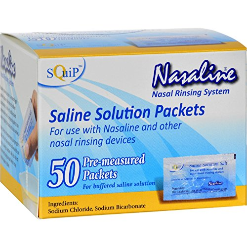 Squip Products Nasaline Salt Pre-Measured Packets - Nasal Rinsing System - 50 Packets (Pack of 2)