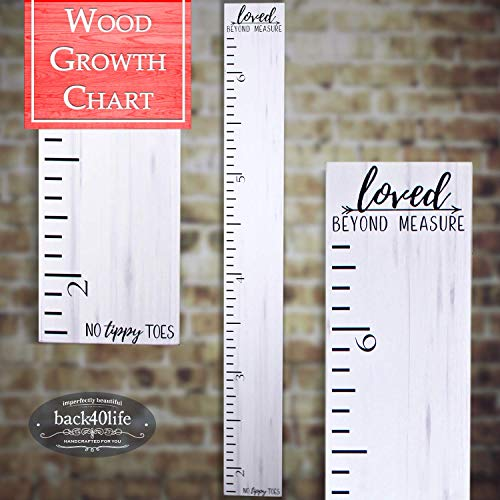 Height Wooden Chart - Back40Life | Premium Series - (No Tippy Toes - Loved Beyond Measure) Wooden Growth Chart Height Ruler (Weathered White)