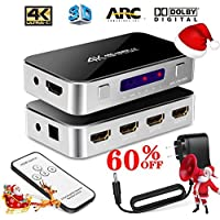 [Upgrade version] Intelligent 4X1 HDMI Switch with Audio Optical , Amuoc 4K Ultra HD 4 Port 4Kx2K HDMI Switcher Box Selector Audio Extractor Splitter with IR Remote [Support ARC | 3D 1080p]