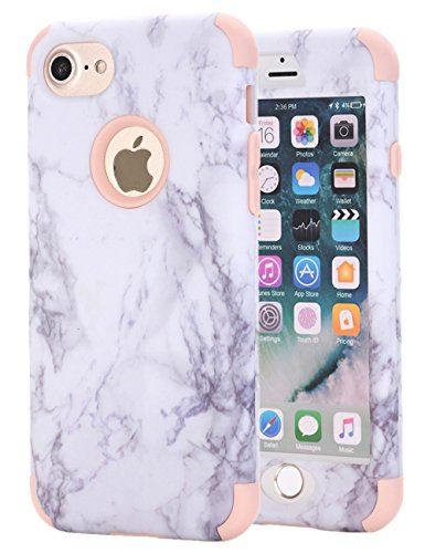iPhone 7 Case, iPhone 8 Case, KAMII White Marble Stone Pattern Shockproof 2in1 Dual Layer TPU Bumper Hard PC Hybrid Defender Armor Protective Case Cover for Apple iPhone 7 / iPhone 8 Rose Gold
