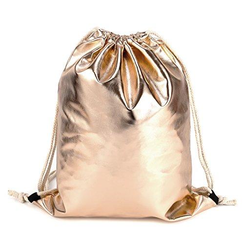 Fraulein3°8 Metallic PU Big Drawstring Tote Bag Backpack Rucksack Shoulder Bag Champagne