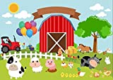 7x5ft Red Barn Barnyard Tractor Balloons Animals Fence Garden Backgrounds High-grade Pictorial cloth Computer print children kids backdrop CST1132