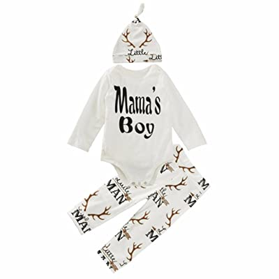 3 Pcs/Set Toraway Toddler Newborn Infant Baby Boys Girls Antlers Romper T-Shirt +Pant Hat Outfit Set