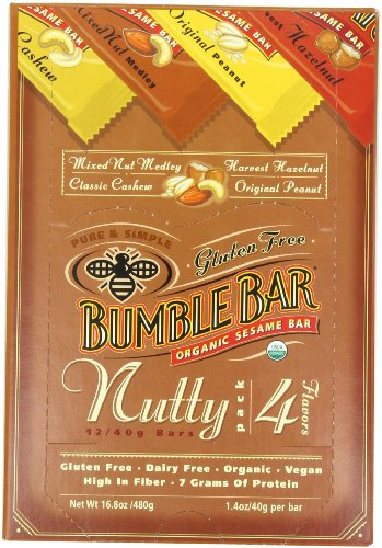 BumbleBar The Nutty Pack Variety Pack, 12-Count, 1.4-Ounce Bar