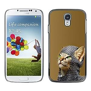 Samsung Galaxy S4 - Metal de aluminio y de plástico duro Caja del teléfono - Negro - Chainmail Warrior Cat